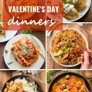 "Collage of Six Vegan Valentine's Day Dinners with Text Overlay Reading ""Vegan Valentine's Day Dinner Recipes"""