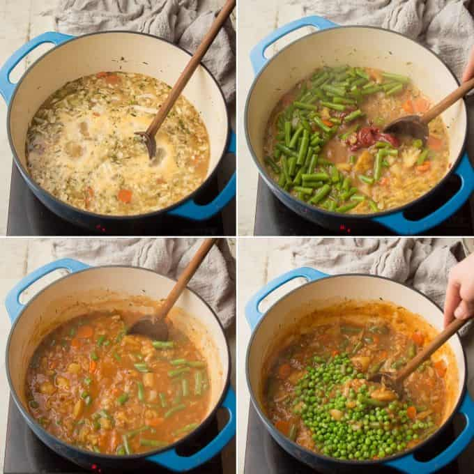Collage Showing Last 4 Steps for Making Vegetable Stew: Simmer, Add Green Beans and Seasonings, Simmer Again, and Stir in Peas