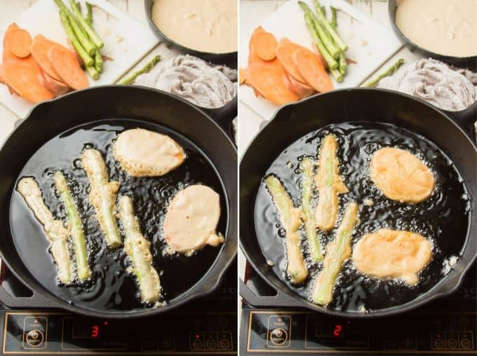 Collage Showing Two Stages of Tempura Vegetables Frying in a Skillet