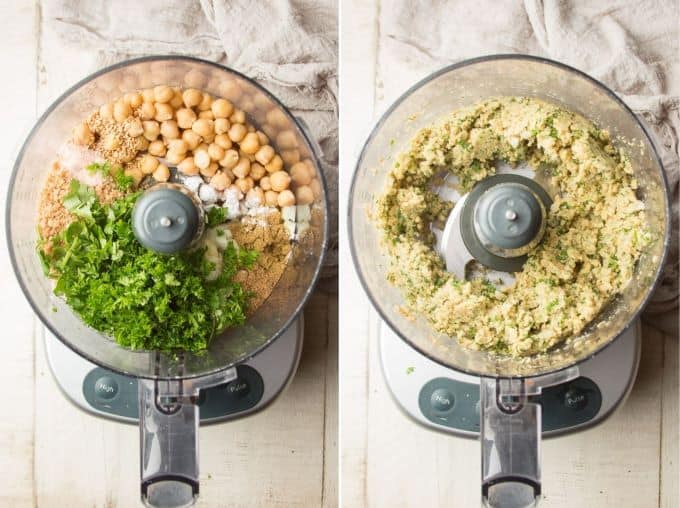 Ingredients for Making Baked Falafel in a Food Processor Bowl Before and After Blending