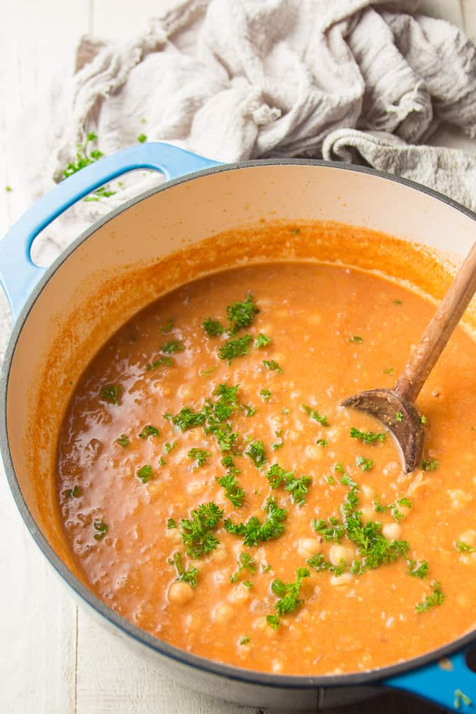 Pot of Chickpea Soup with Wooden Spoon