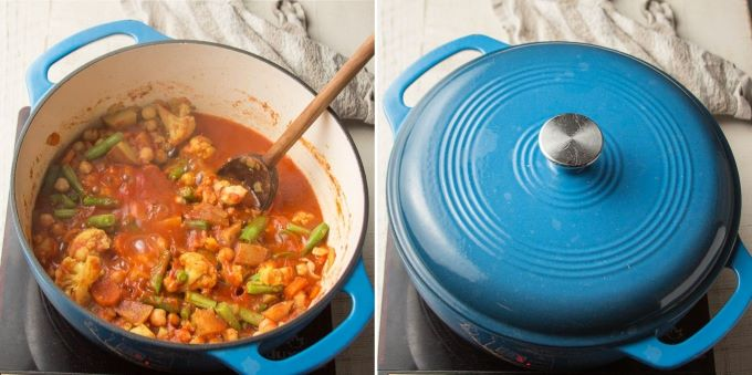 Final Two Steps for Making Mixed Vegetable Curry: Bring to a Simmer and Cover