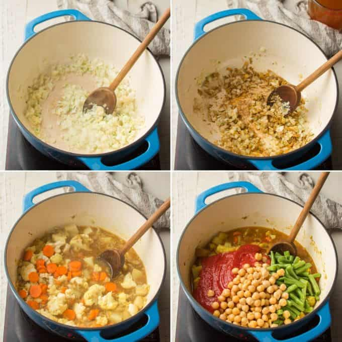First 4 Steps for Making Mixed Vegetable Curry: Sweat Onion, Add Spices, Add Broth and Vegetables, and Add Tomatoes, Chickpeas and Green Beans