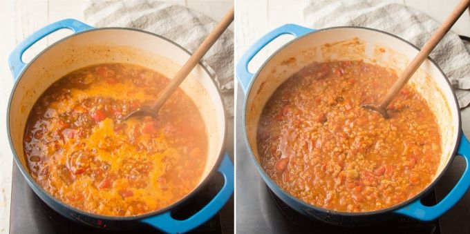 Last Two Stages of Red Lentil Chili Simmering in a Pot