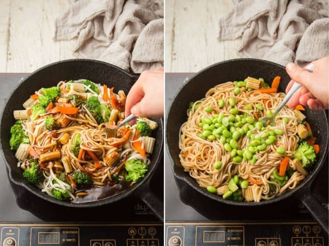 Collage Showing Last Two Steps for Making Teriyaki Noodles: Stir in Sauce, and Stir in Edamame