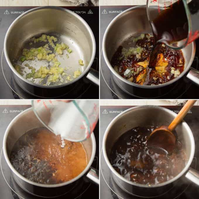 Collage Showing Steps for Making Teriyaki Sauce: Sauté Aromatics, Add Liquid Ingredients, Add Cornstarch Slurry, and Simmer