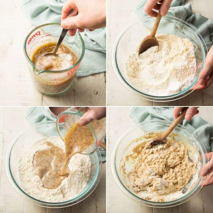 Collage Showing First Four Steps for Making Vegan Cornbread: Stir Together Liquid Ingredients, Stir Together Dry Ingredients, Pour Liquid Mixture into Dry and Stir to Combine