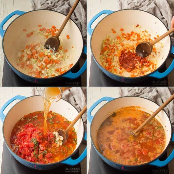 Collage Showing 4 Stages of Cooking Vegan Pasta e Fagioli, Sweat Veggies, Cook Tomato Paste, Add Broth, Herbs, Tomatoes, and Beans, and Simmer