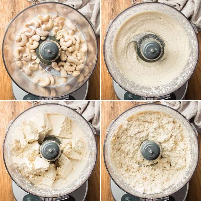 Collage Showing 4 Stages of Blending Vegan Ricotta Cheese in a Food Processor