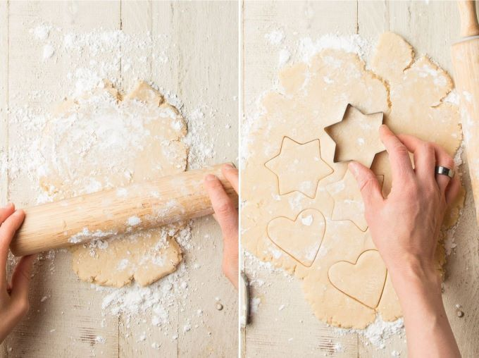 Side By Side Images Showing Hands Rolling Vegan Sugar Cookie Dough and Cutting Out Shapes with Cookie Cutters