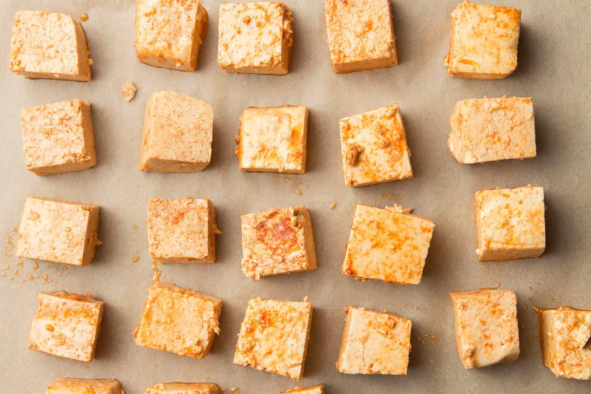 Tofu Pieces on Parchment Paper