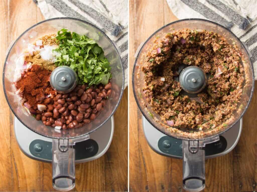 Collage Showing Black Bean Burger Ingredients in a Food Processor Bowl Before and After Blending