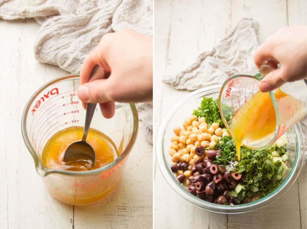Collage Showing Two Steps for Making Mediterranean Quinoa Salad: Mix Dressing and Pour it Over Salad