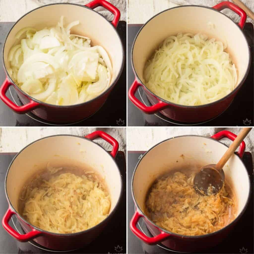 Collage Showing 4 Stages of Onions Caramelizing in a Pot