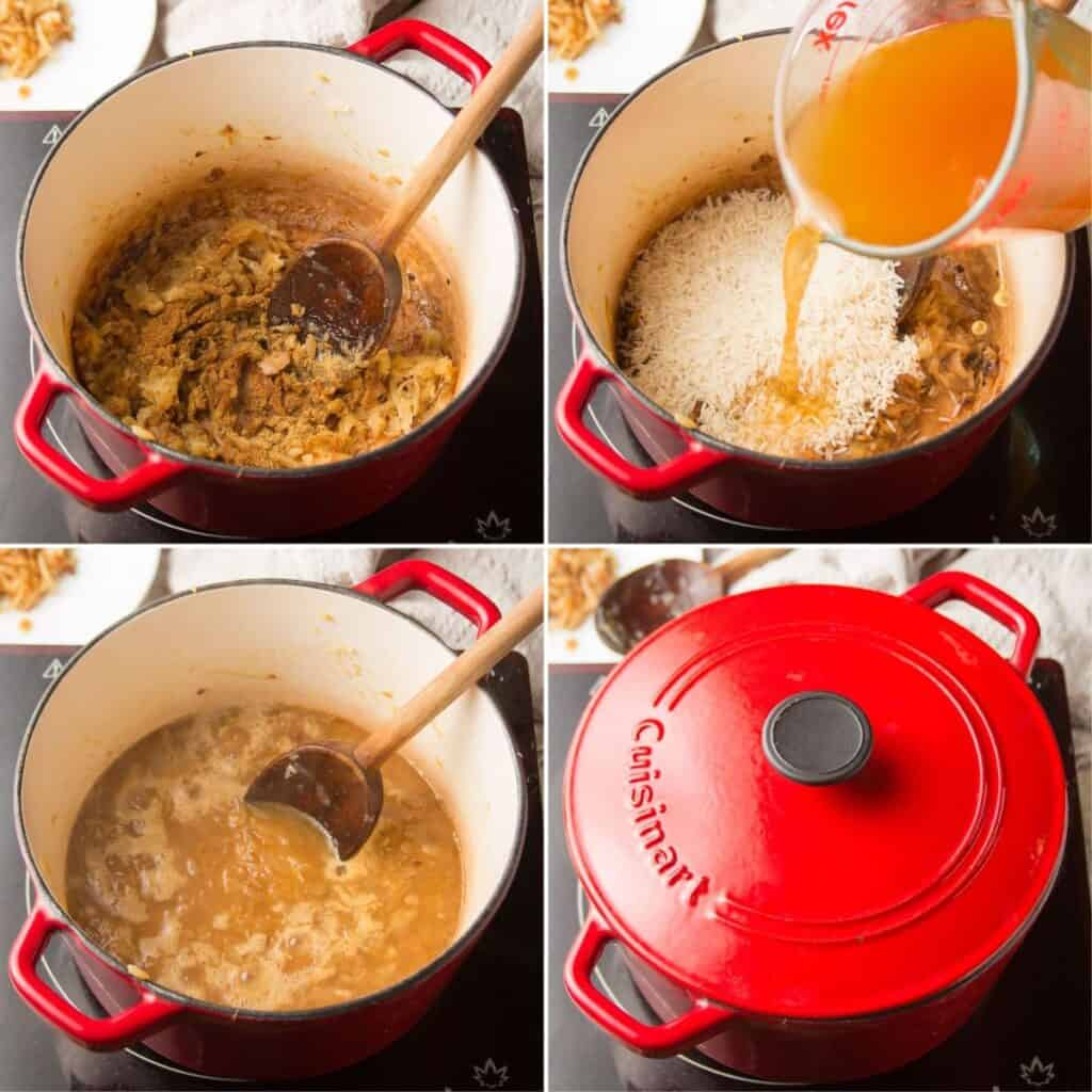 Collage Showing 4 Stages of Cooking Mujadara