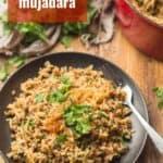 "Plate of Mujadara with Text Overlay Reading ""Lebanese Mujadara"""