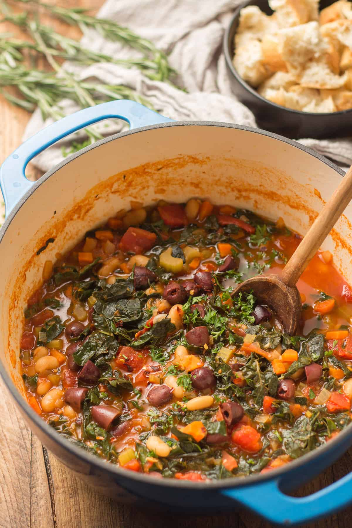 Pot of Ribollita with Wooden Spoon