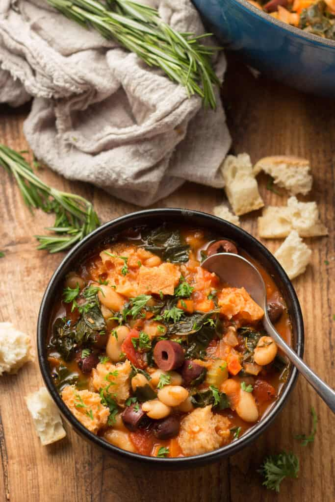 Bowl of Ribollita with a Spoon