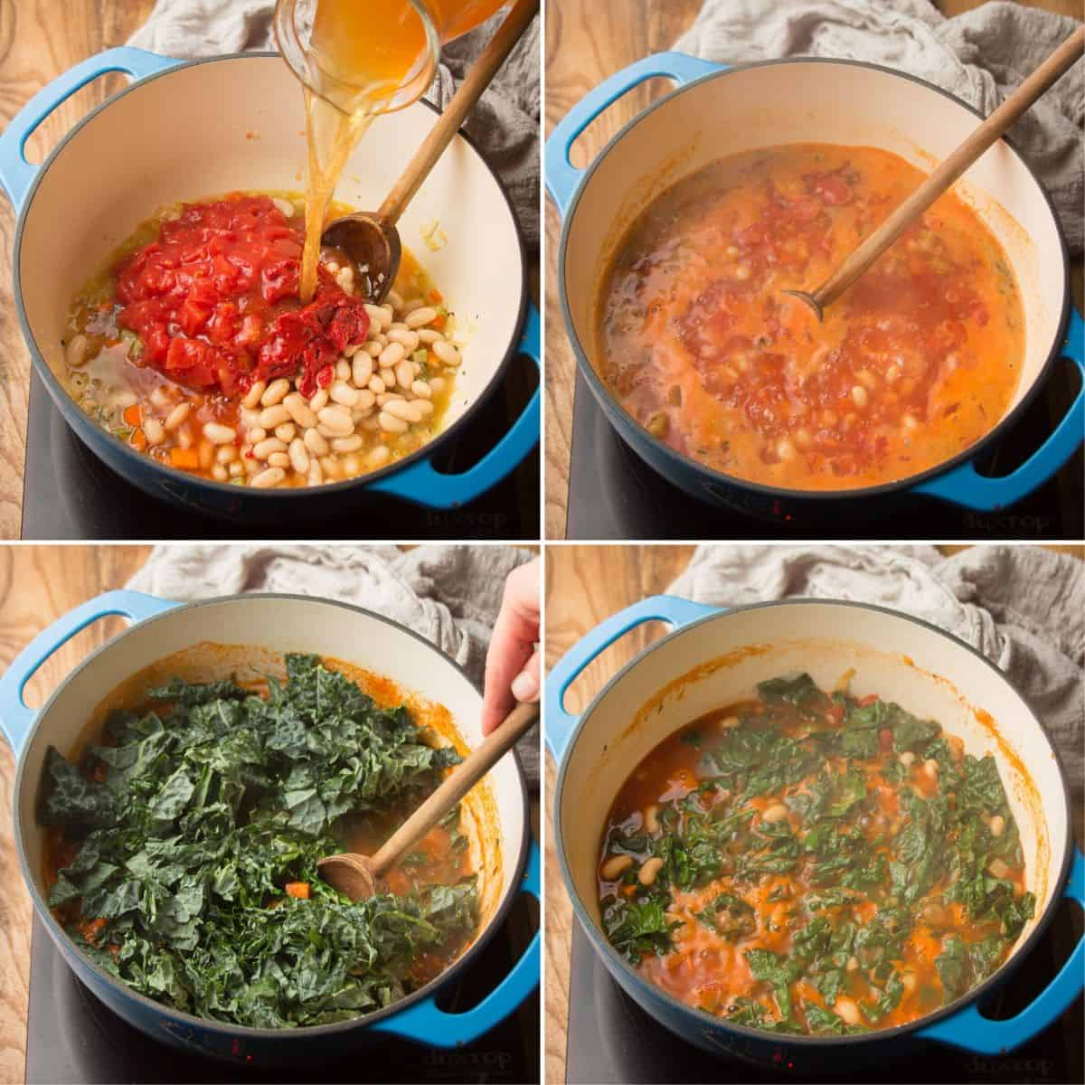 Collage Showing Steps 5-8 for Making Ribollita: Broth, Tomatoes, and Beans, Simmer, Add Kale, and Simmer