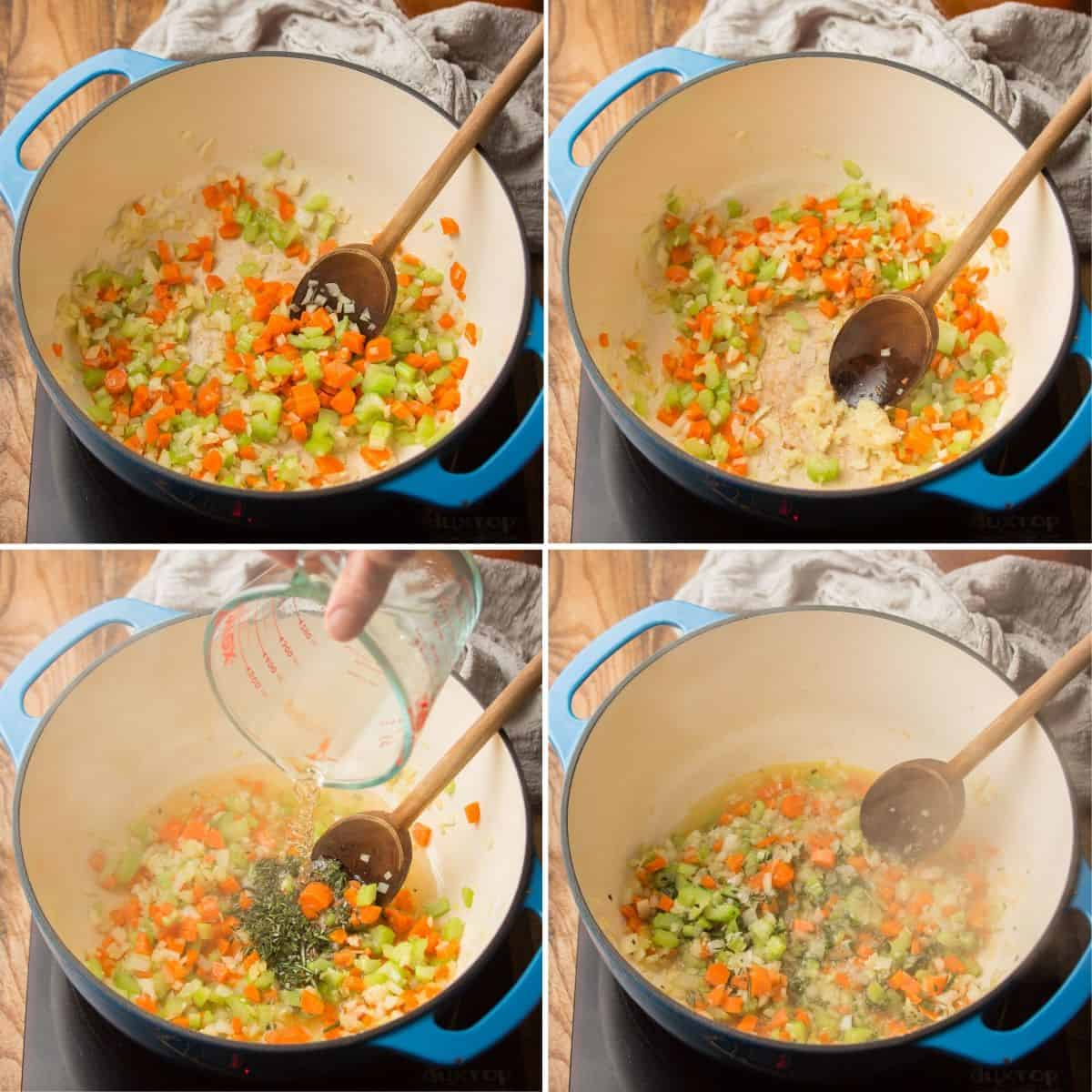 Collage Showing Steps 1-4 for Making Ribollita: Sweat Veggies, Add Garlic, Add Wine and Simmer