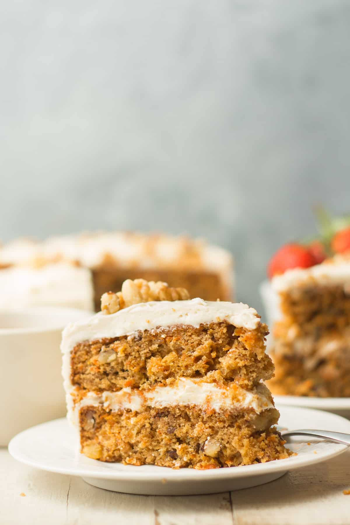 Close Up of a Slice of Vegan Carrot Cake on a Plate