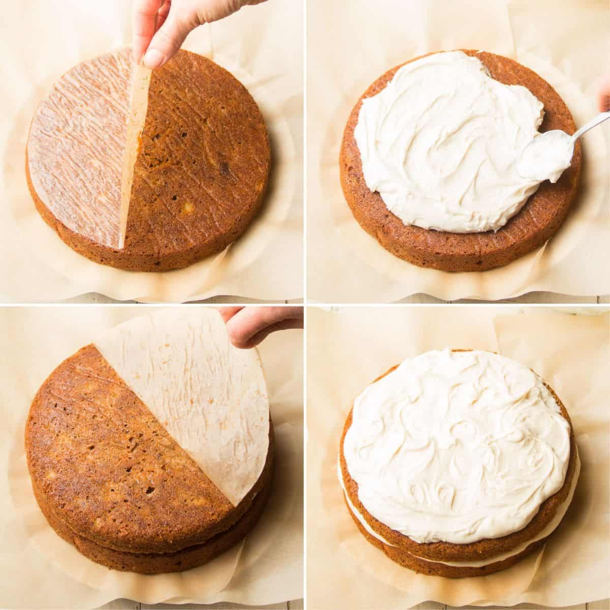 Collage Showing Steps for Assembling and Frosting Vegan Carrot Cake