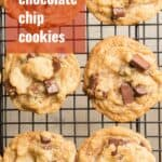 """Vegan Chocolate Chip Cookies on a Cooling Rack with Text Overlay Reading """"Vegan Chocolate Chip Cookies"""""""