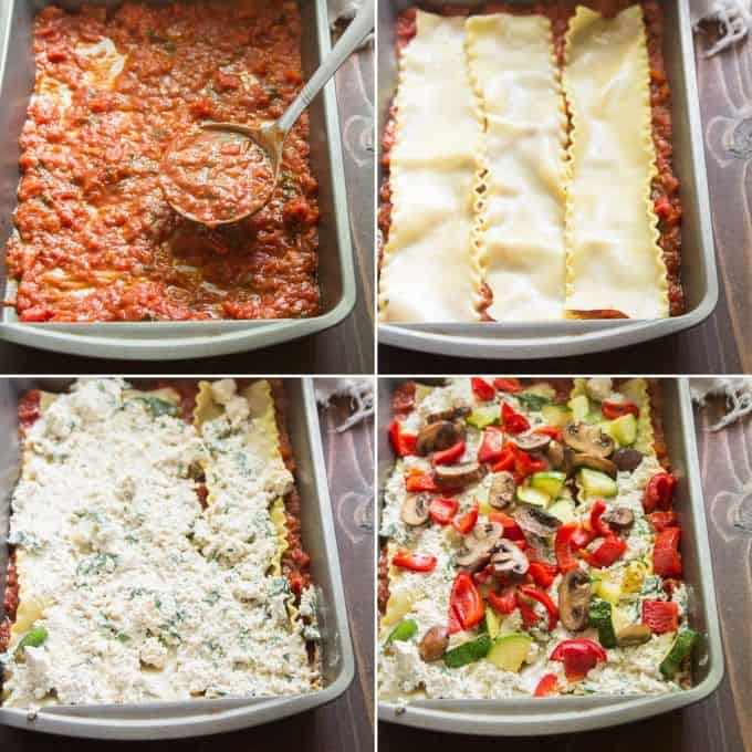 Collage Showing First 4 Layering Steps for Making Vegan Lasagna