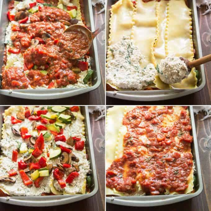 Collage Showing Last Four Layering Steps for Assembling a Vegan Lasagna