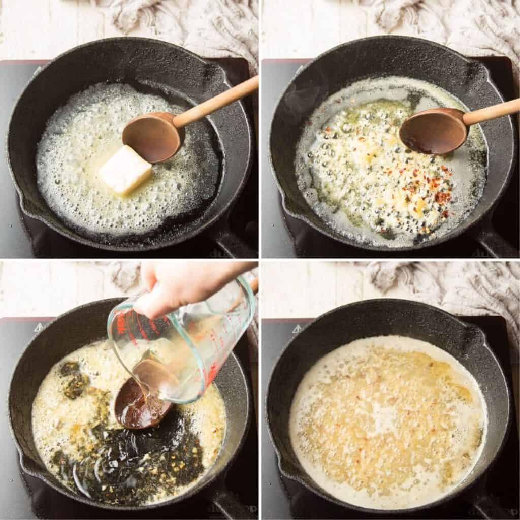 Collage Showing First 4 Steps for Making White Wine Pasta: Melt Butter, Cook Garlic, Flour and Red Pepper Flakes, Add Wine and Simmer