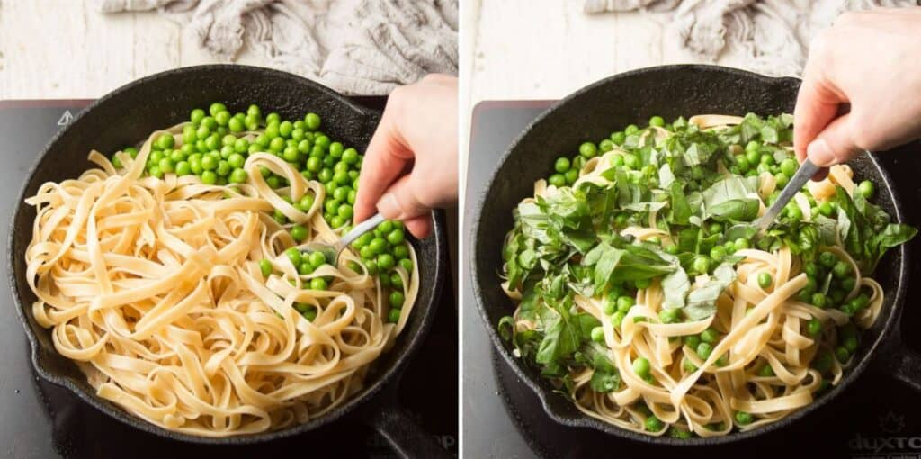 Collage Showing Last Two Steps for Making White Wine Pasta: Add Pasta and Peas, then Add Basil