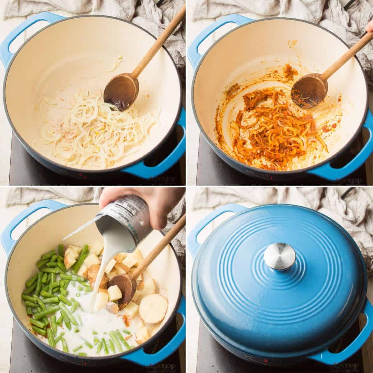 Collage Showing First Four Steps for Making Yellow Curry: Sweat Onions, Add Curry Paste, Add Potatoes, Green Beans and Coconut Milk, and Simmer while Covered