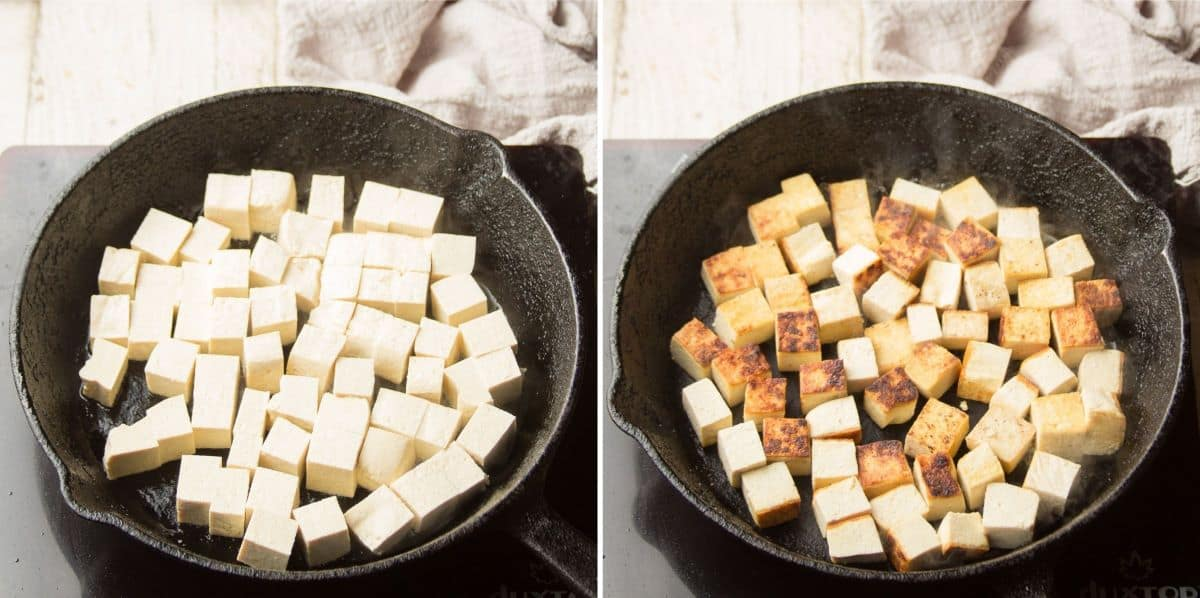 Collage Showing Two Stages of Tofu Sizzling in a Skillet
