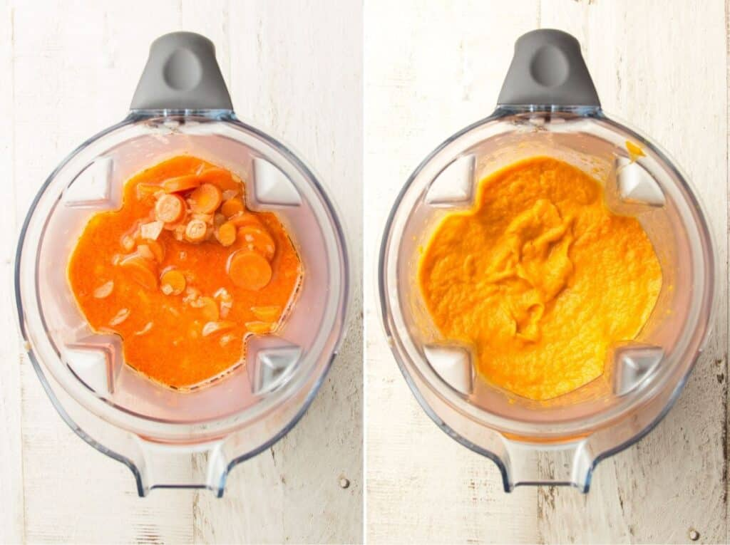 Side By Side Images Showing Carrot Soup in a Blender Before and After Blending