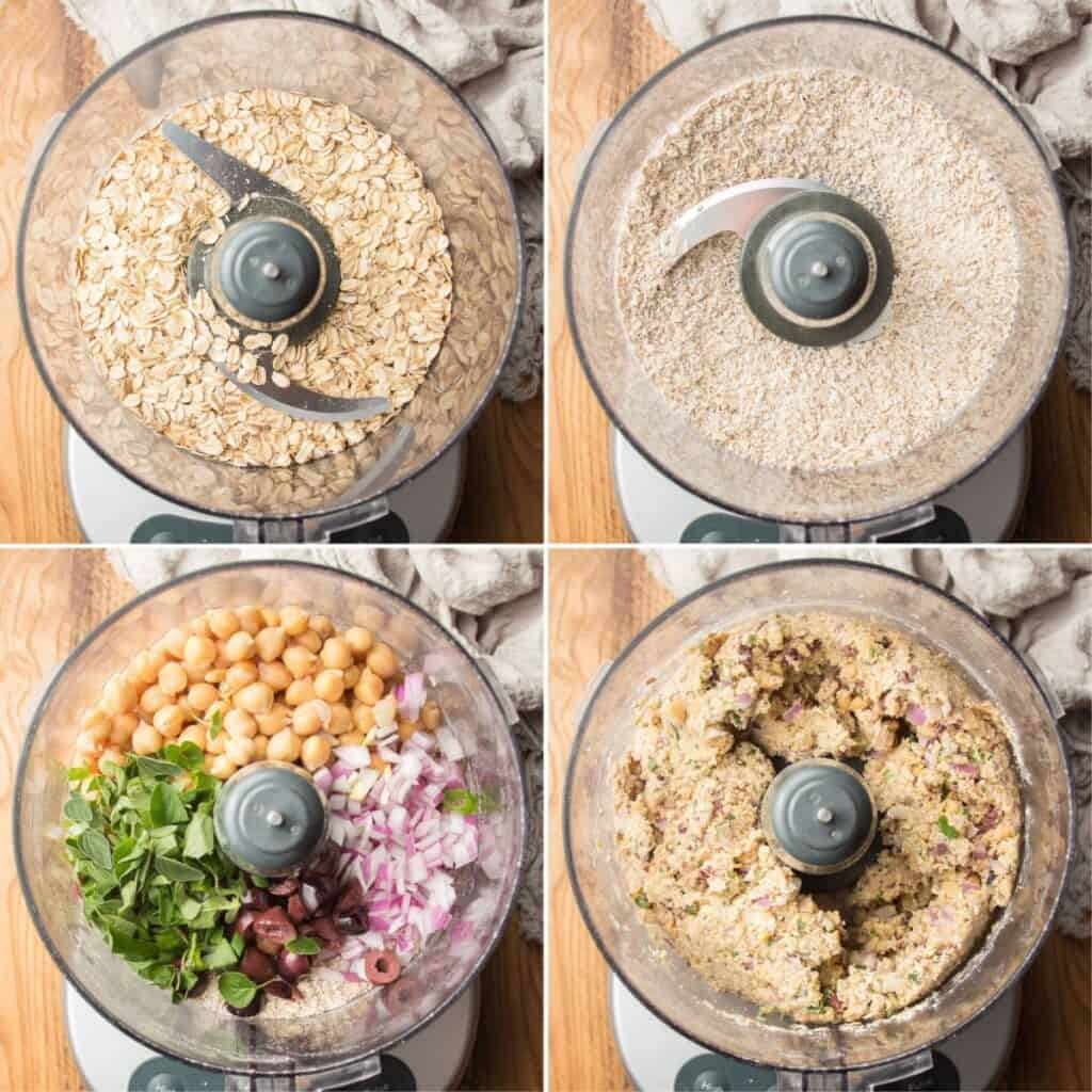 Collage Showing 4 Stages of Blending Greek Chickpea Burger Ingredients in a Food Processor Bowl