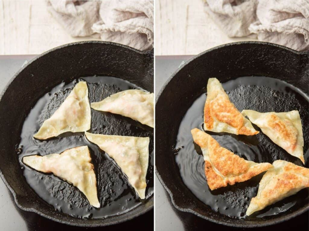 Collage Showing Two Stages of Tofu Dumplings Frying in a Skillet