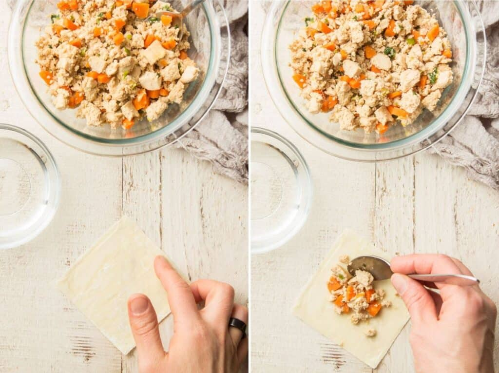 Collage Showing First Two Stages of Making Tofu Dumplings: Wet Edges and Spoon Filling on Top