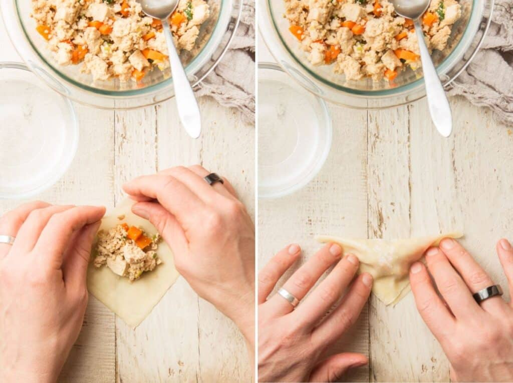 Collage Showing Last Two Stages of Making Tofu Dumplings: Fold and Seal