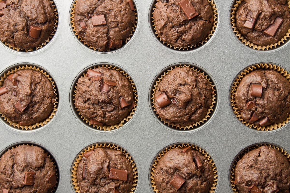 Vegan Double Chocolate Muffins in a Muffin Tin