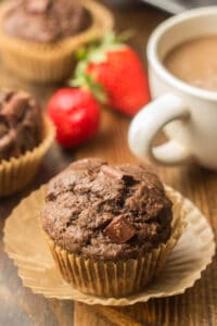 Vegan Double Chocolate Muffin with Muffin Paper Partially Removed