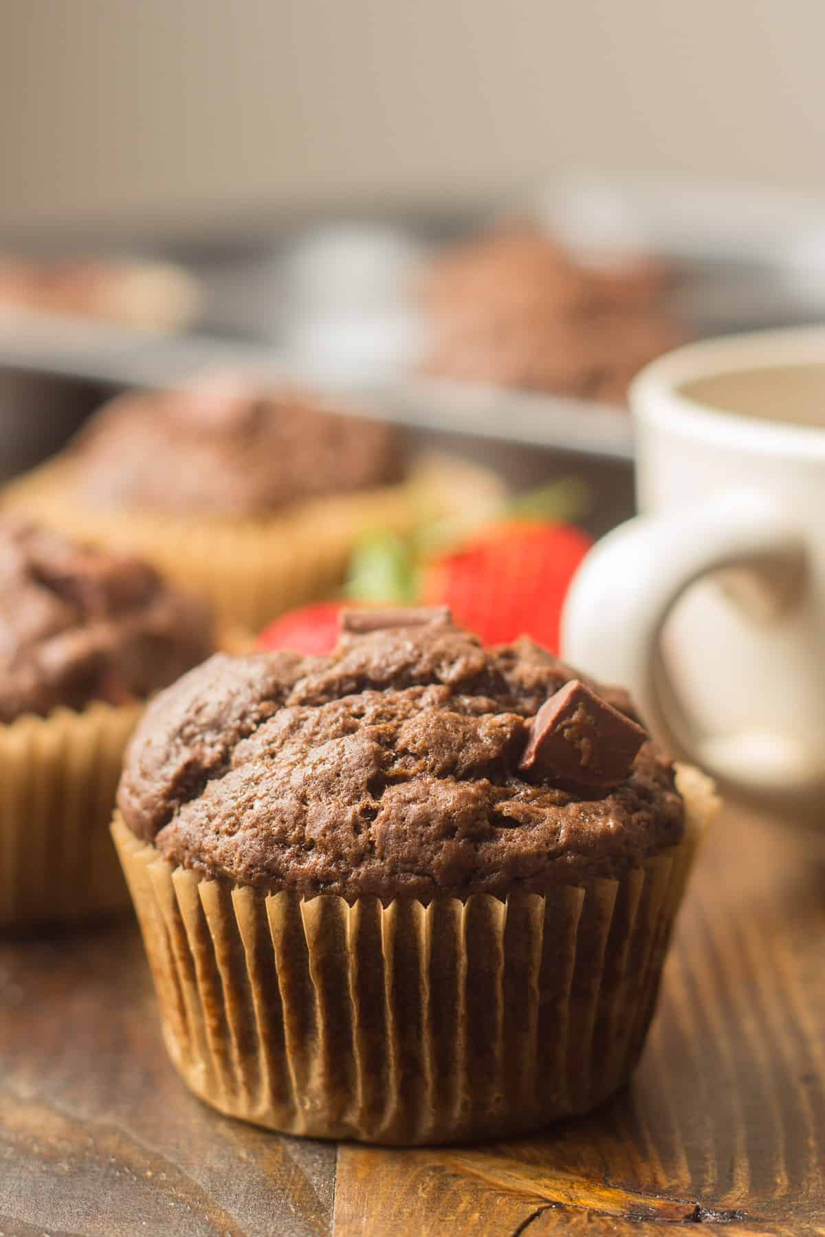 Close up of a Vegan Double Chocolate Muffin