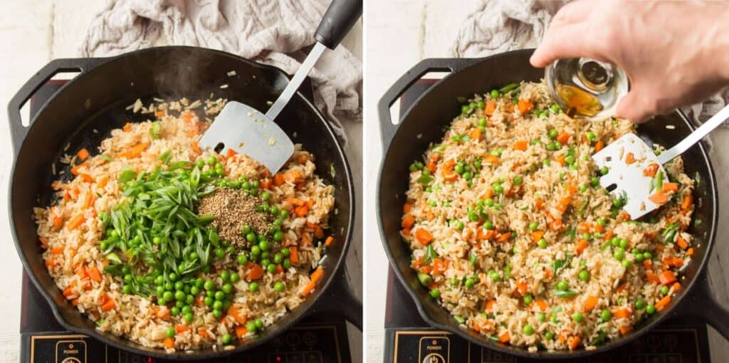Collage Showing Last Two Steps for Making Vegan Fried Rice: Add Peas, Scallions and Sesame Seeds, then Add Sesame Oil