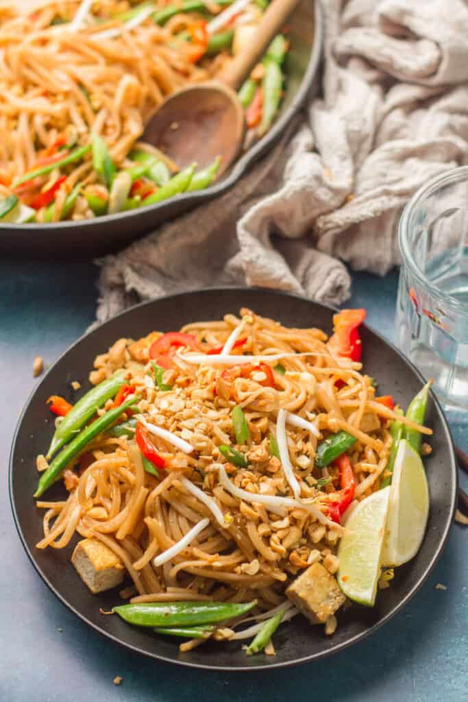 Plate of Vegan Pad Thai with Skillet in the Background