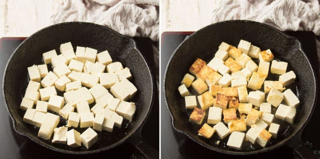 Collage Showing Two Stages of Tofu Cooking in a Skillet