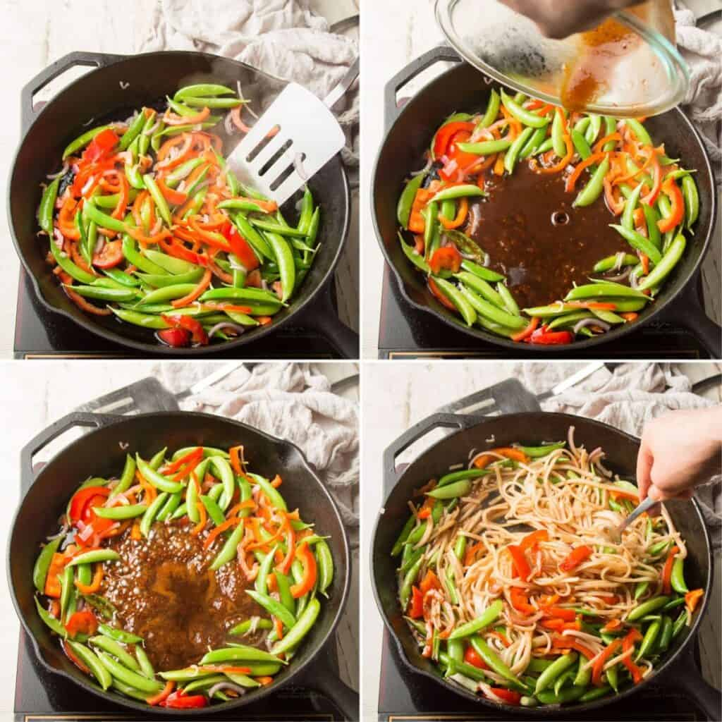 Collage Showing Steps for Making Vegan Pad Thai