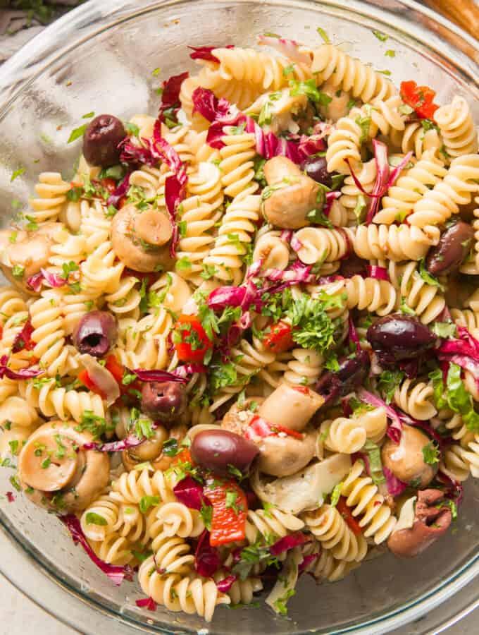 Close Up of Vegan Pasta Salad in a Glass Bowl
