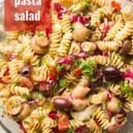 """Bowl of Vegan Pasta Salad with Text Overlay Reading """"Vegan Pasta Salad"""""""