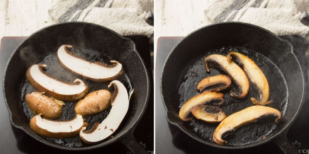 Collage Showing Two Stages of Portobello Mushrooms Cooking in a Skillet