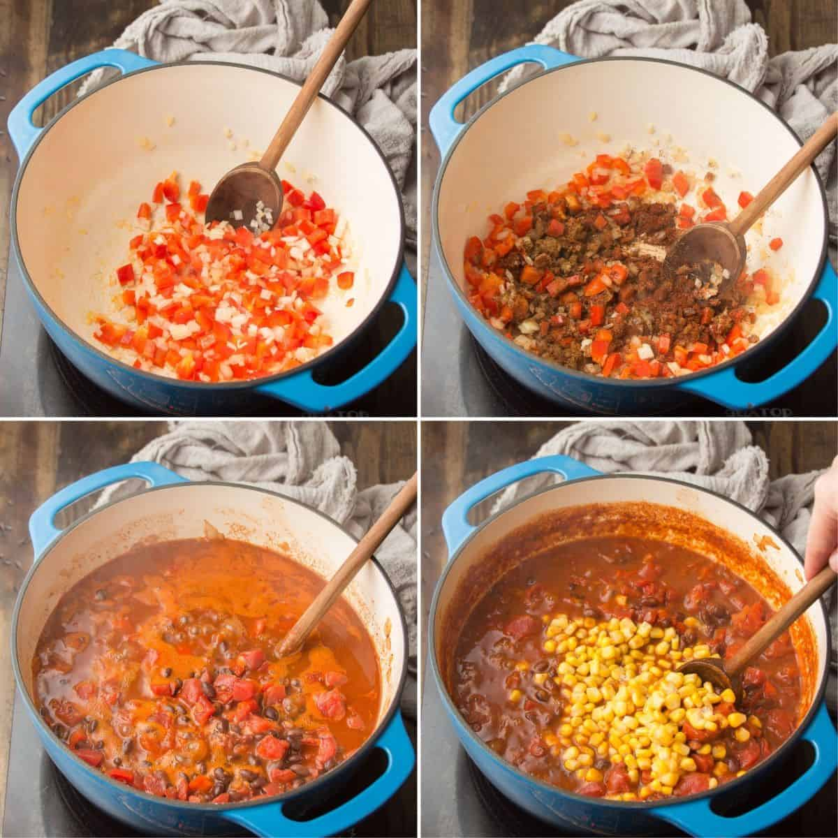 Collage Showing 4 Steps for Making Black Bean Chili: Sweat Veggies, Add Spices, Add Tomatoes, Beans and Broth, and Add Corn