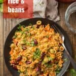 """Plate of Spanish Rice & Beans with Text Overlay Reading """"Spanish Rice & Beans"""""""